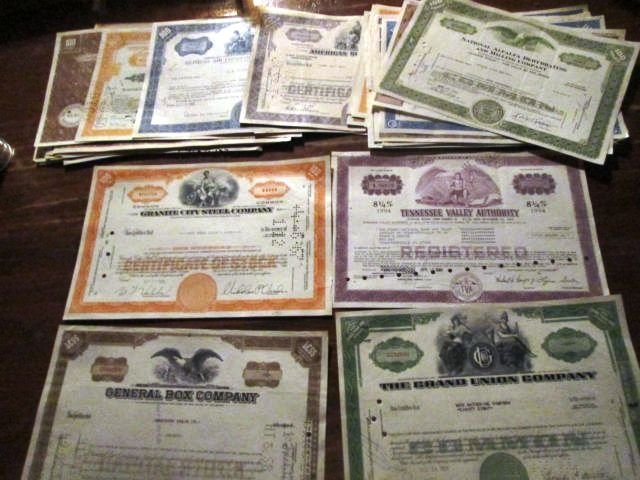 Great Artwork Obsolete Stock Certificates (50)