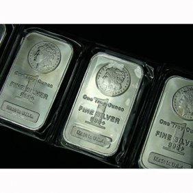 (3) Silver Morgan Design Bars