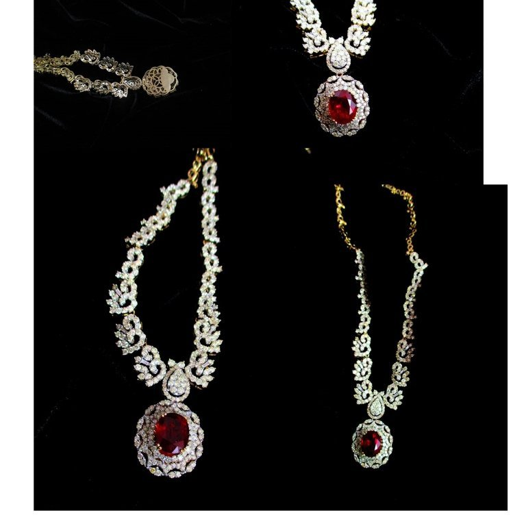 $21,045 App. STUNNING RUBY / DIA. NECKLACE