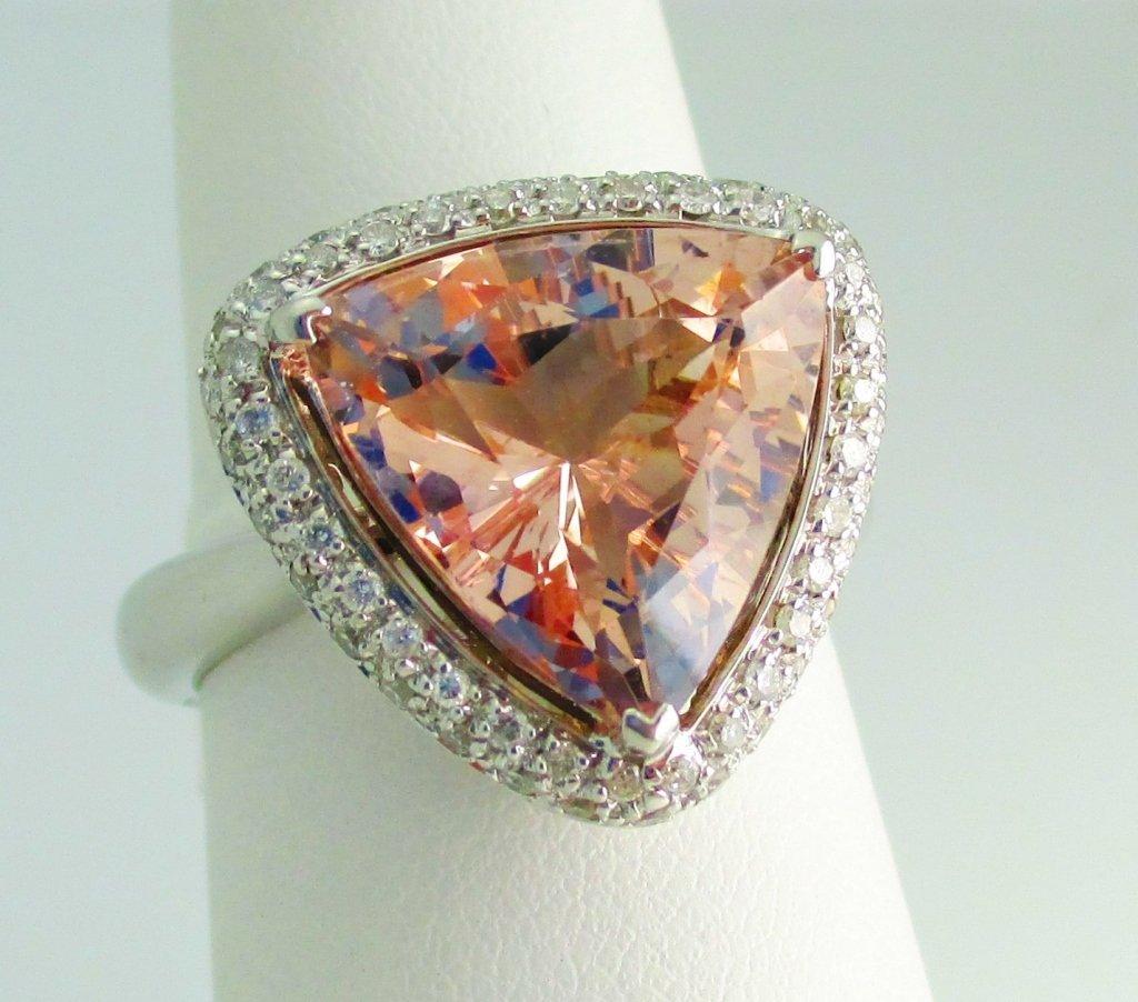 18k Kuntzite and Diamond Ring Lazer Cut