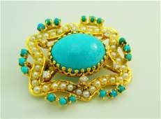 Victorian Turquoise Diamond  Seed Pearl Pendant