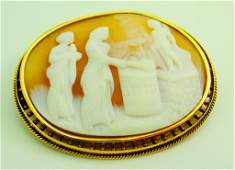 Large 14k Shell Cameo East West Carved