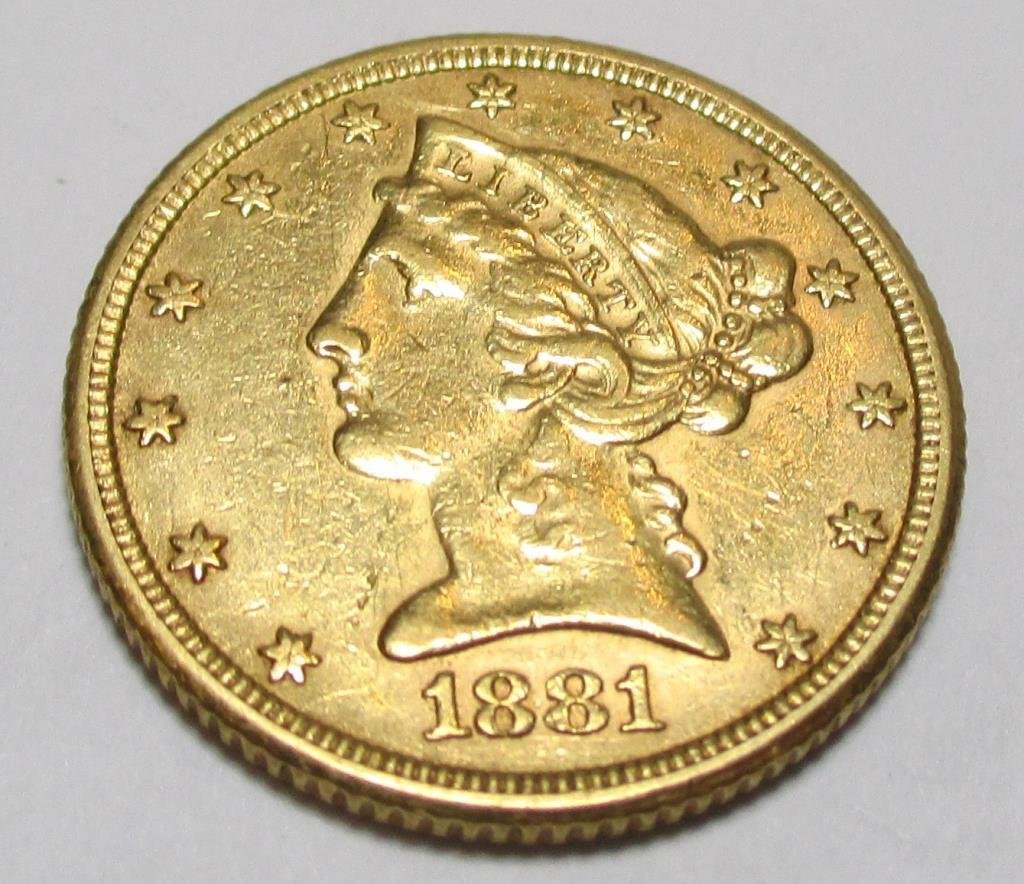 1881 $ 5 Gold Liberty Half Eagle Coin