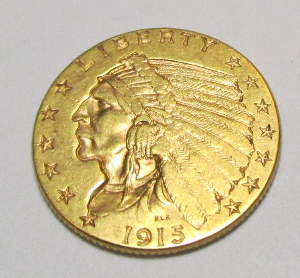 1915 $ 2.5 Gold Indian UNC Quarter Eagle