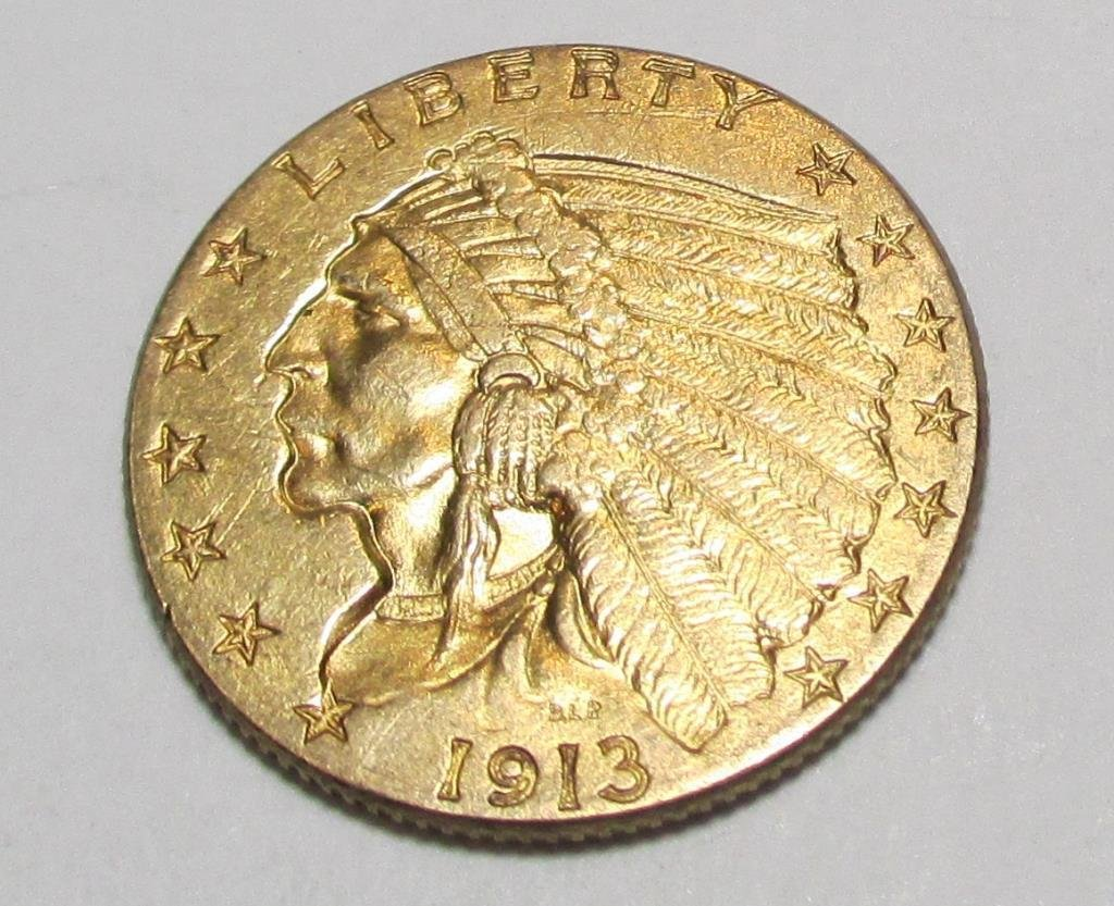 1913 $ 2.5 Gold Indian AU Plus