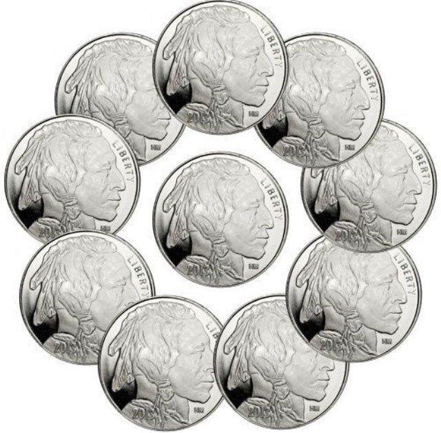 (10) 1 oz Silver Rounds Buffalo Design
