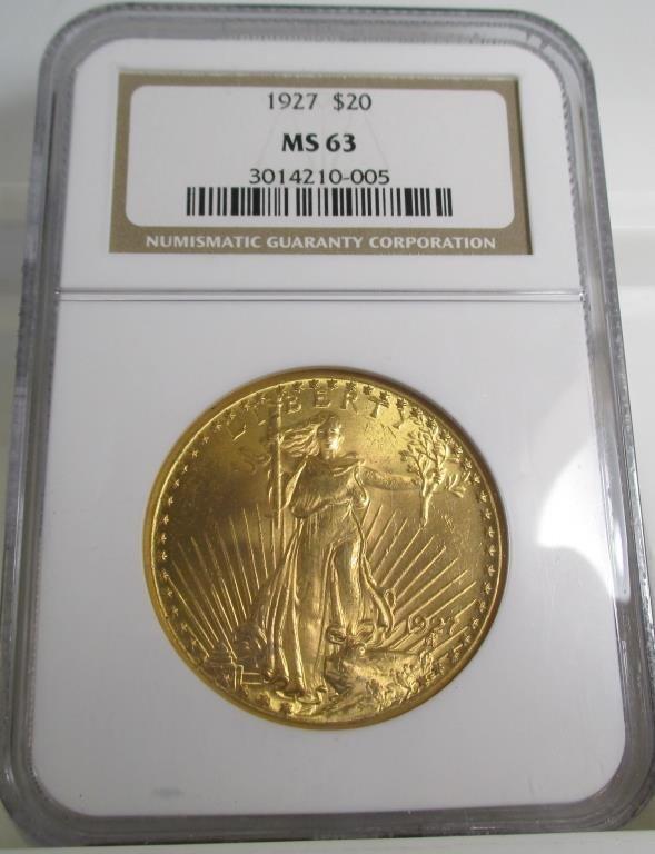 1927 MS 63 $ 20 Gold Saint Gauden's NGC