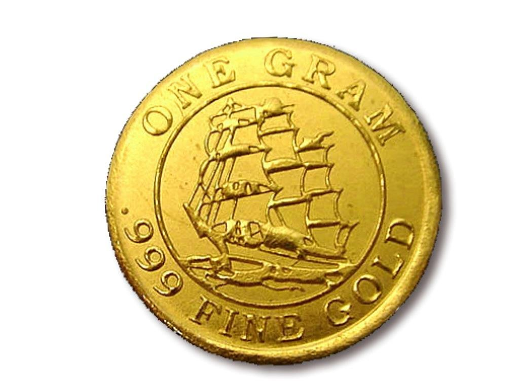 1 Gram Solid Gold Round Sailing Ship Design