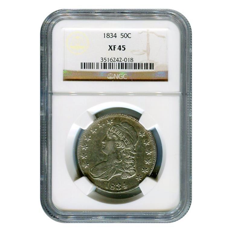 Certified Bust Half Dollar 1834 XF45 NGC