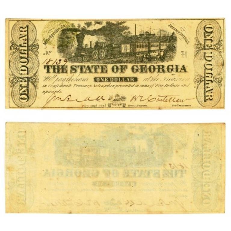 1863 State of Georgia $1 Civil War Era Locomotive