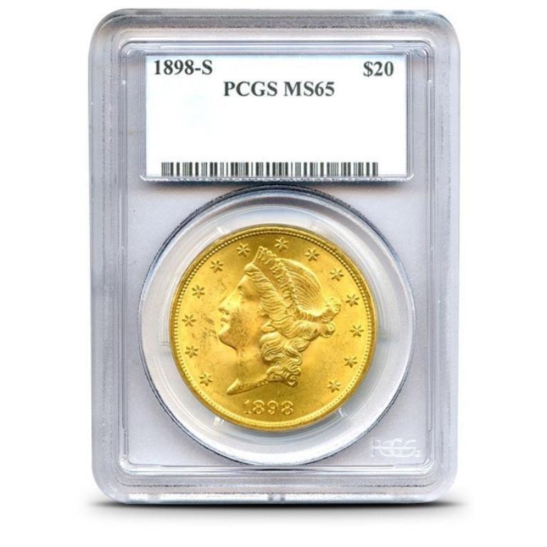 1898 s KEY DATE MS 65 PCGS $20 Gold Liberty