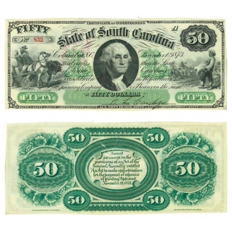 1873 So. Carolina Bearer Debt $50 Note High Grade
