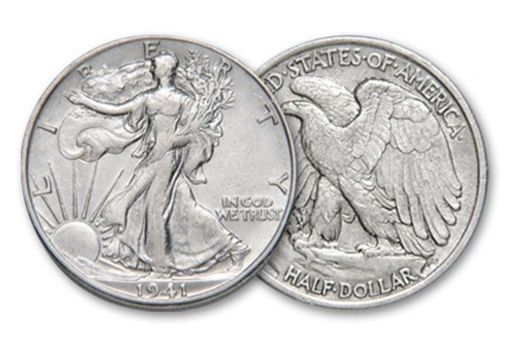 1941 AU Plus Walking Liberty Half Dollar