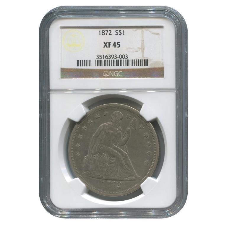 Certified Seated Dollar 1872 XF45
