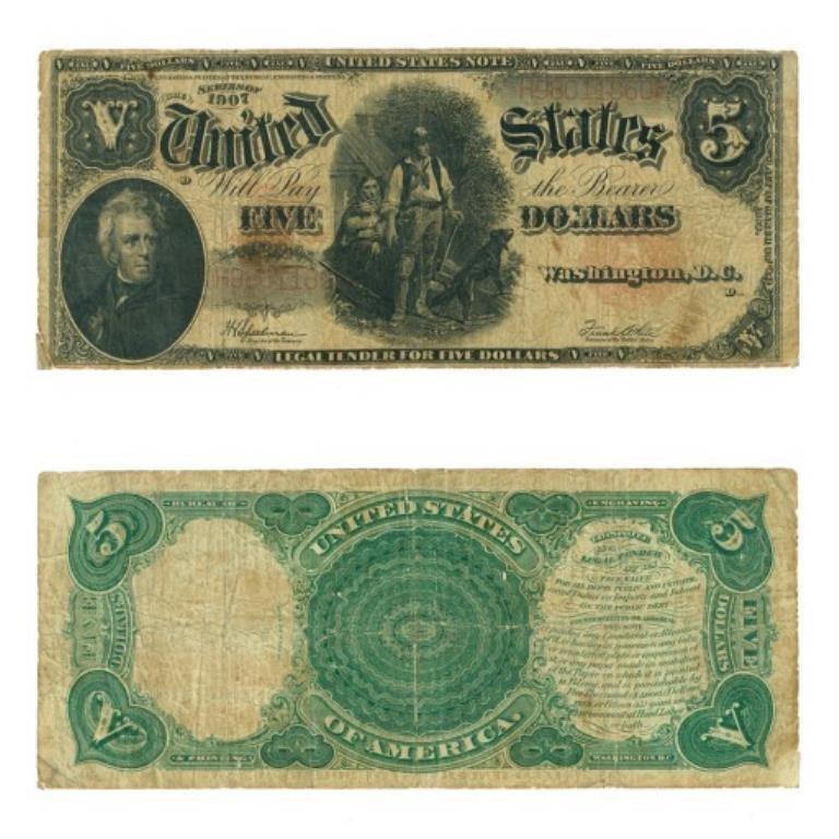 "1907 $ 5 ""Wood Chopper""  US Currency G-VG"