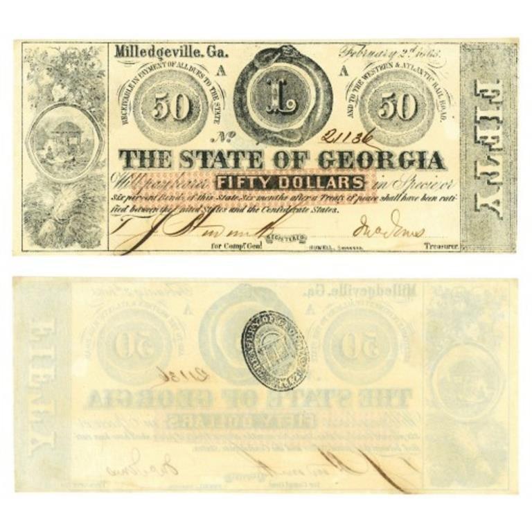 1863 Civil War Georgia $50 Confederate Note