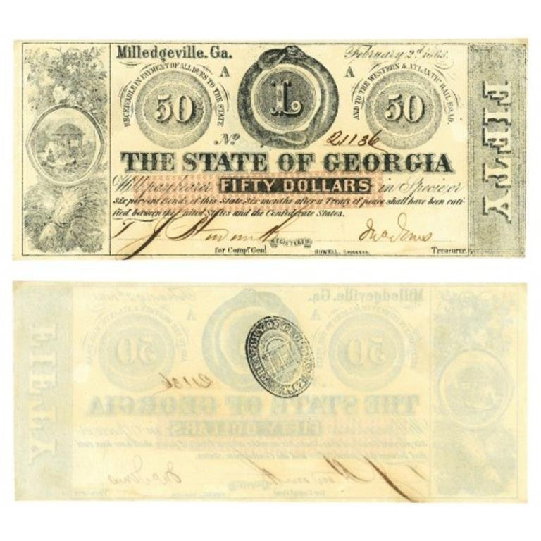 1863 Civil War Georgia $50 Confederate Note