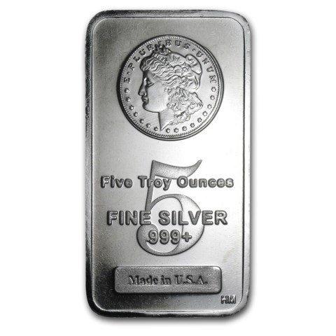 5 oz. Silver Bar - Morgan Design