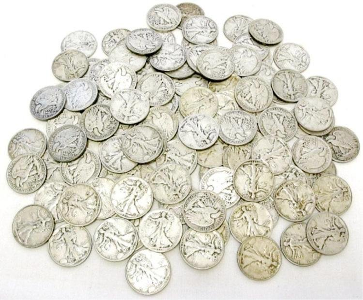 Lot of (100) Walking Liberty Half Dollars