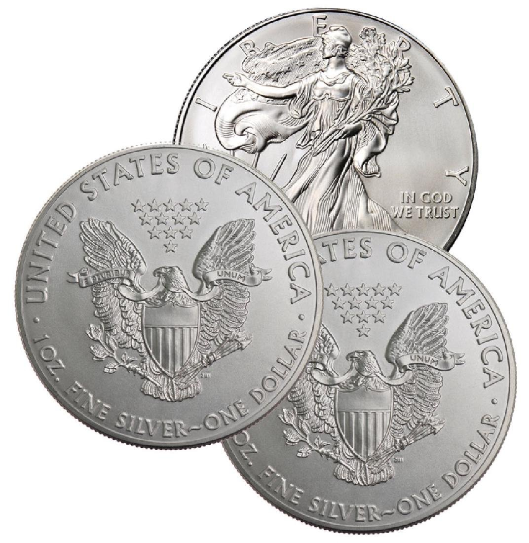 (3) Random Date US Silver Eagles-