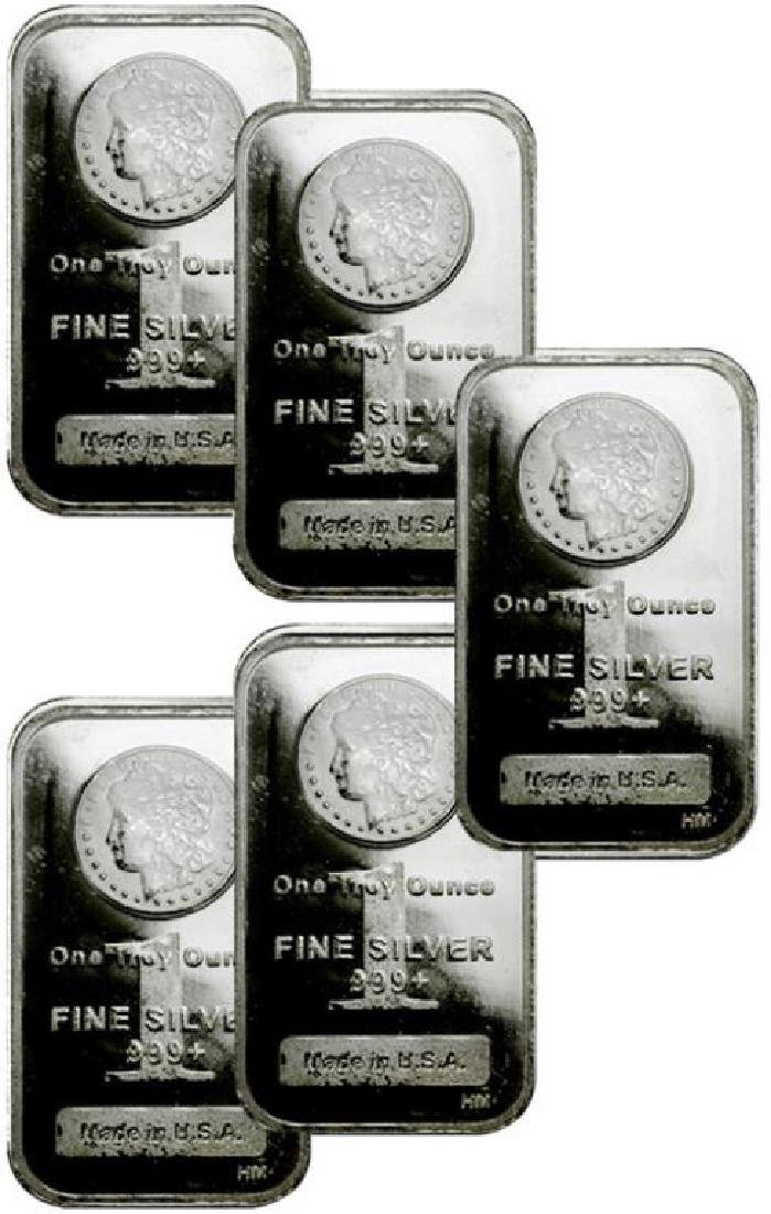 (5)  1 oz. Silver Bars - Morgan Design