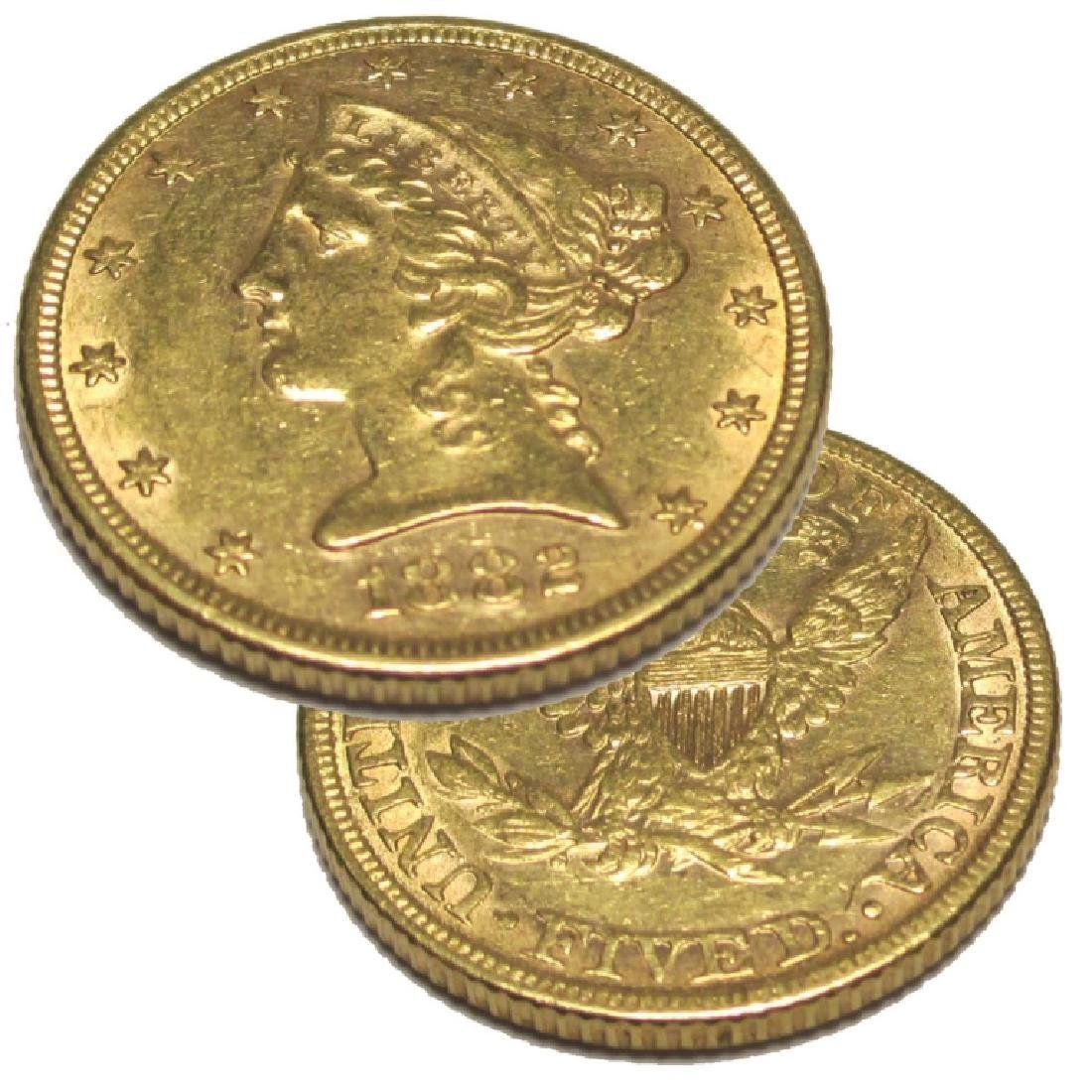 1882 $ 5 Gold Liberty Half Eagle