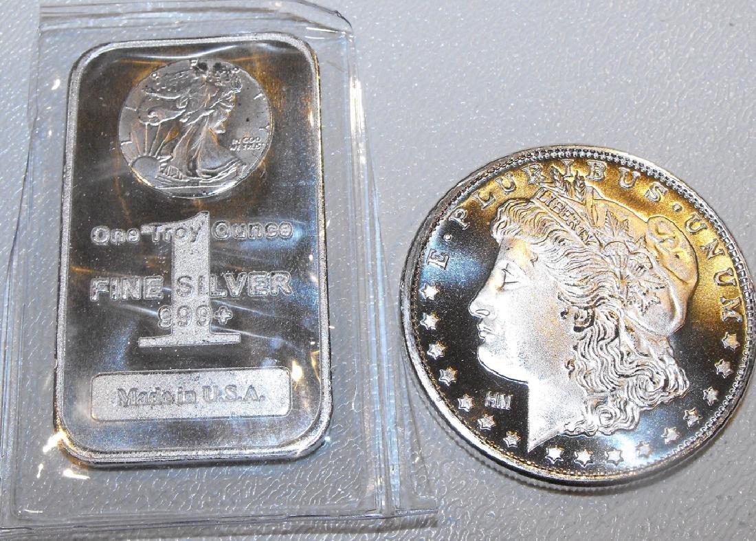 1 oz Silver Morgan Round and Walking Liberty Bar
