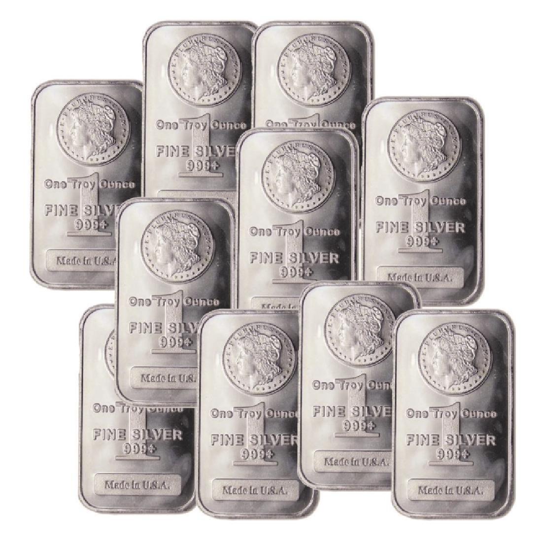 (10) 1 oz Silver Morgan Design Bars