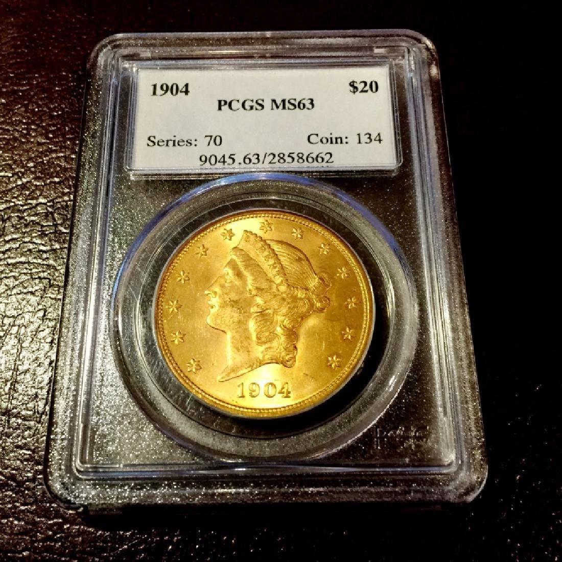 1904 $ 20 Gold Liberty MS 63 PCGS
