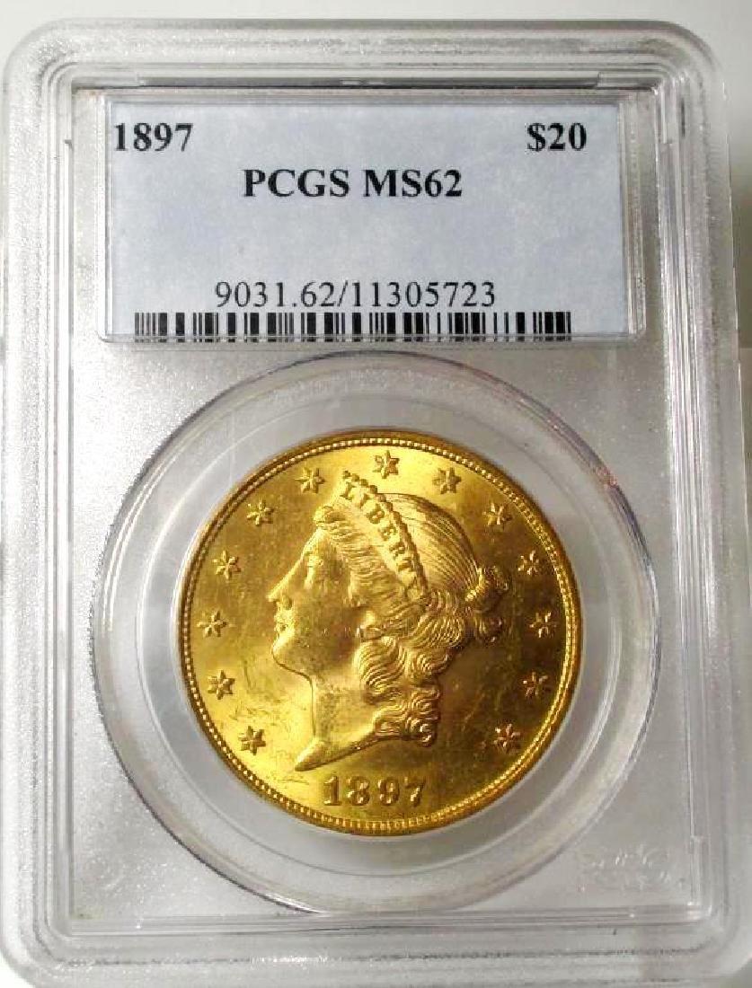 1897 MS 62 $ 20 Gold Liberty PCGS