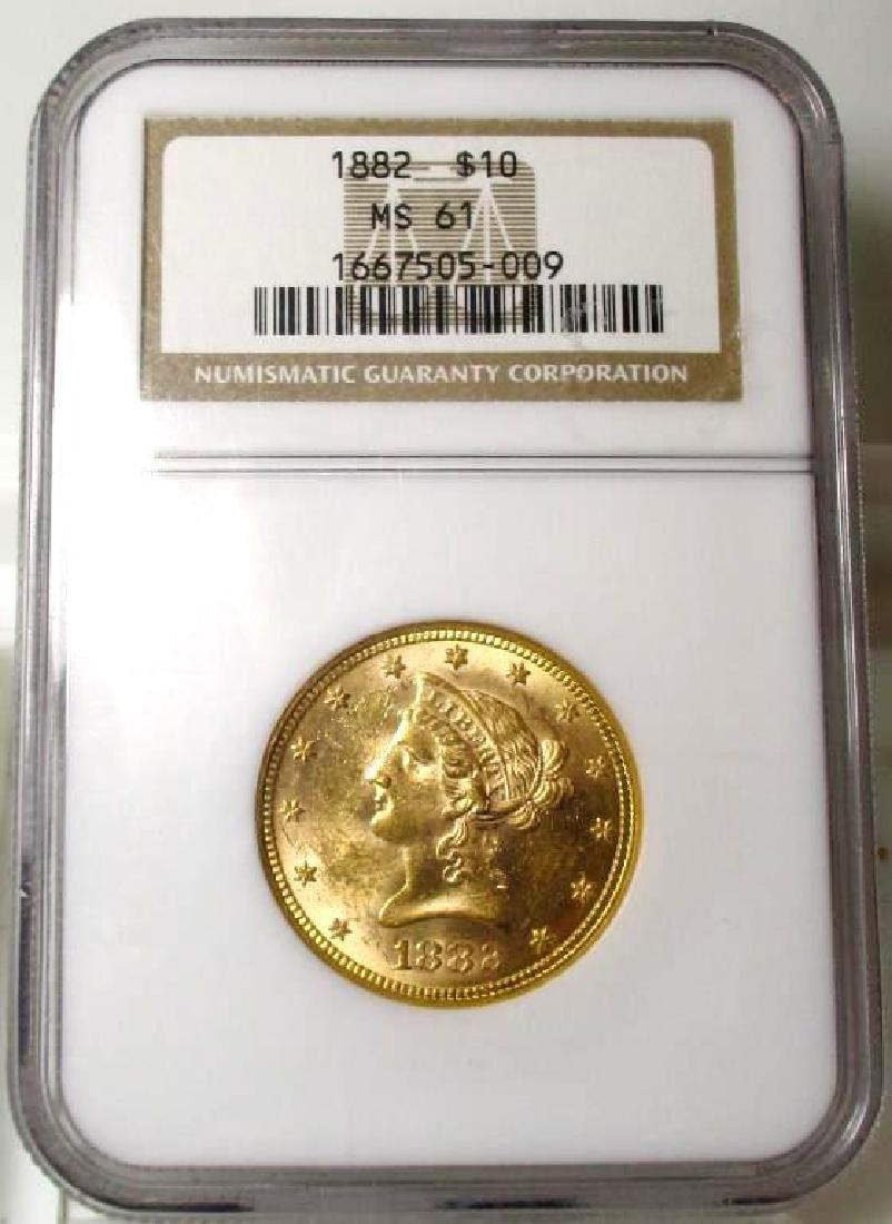 1882 MS 61 $ 10 Gold Liberty NGC