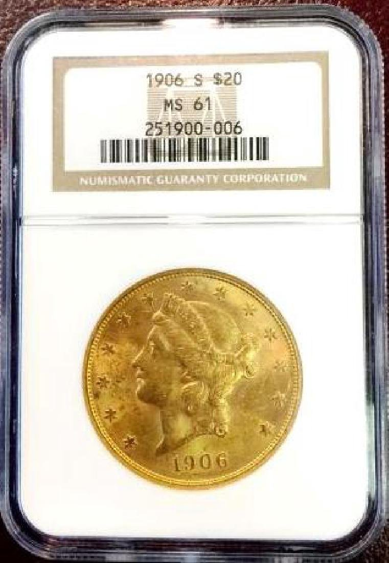 1906 S MS 61 $ 20 Gold Liberty - NGC- Better