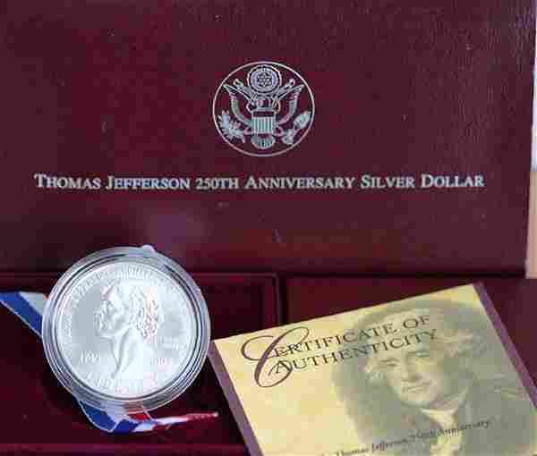 1993 Thomas Jefferson 250th Ann. Silver