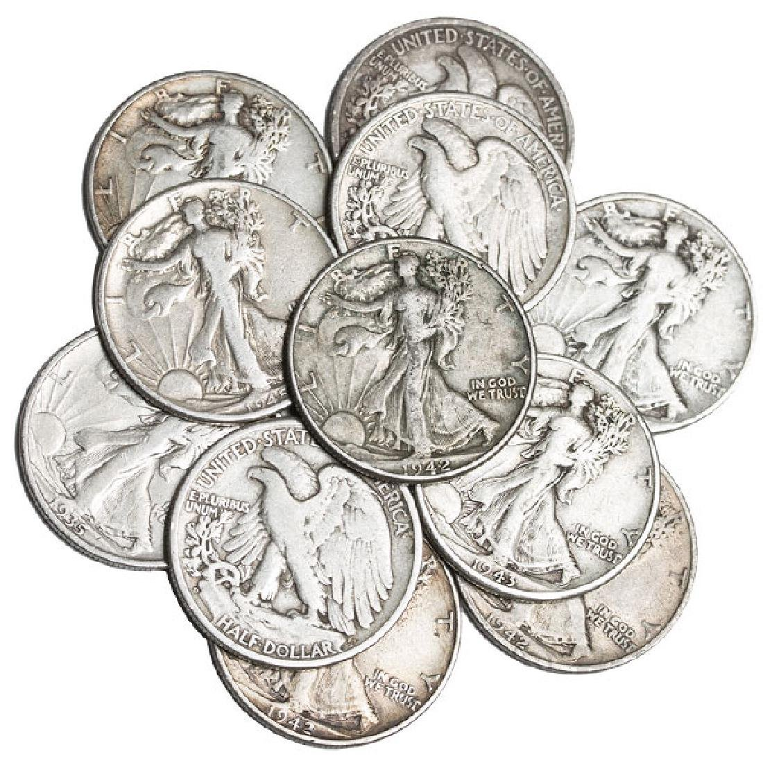 Lot of (10) Walking Liberty Half Dollars
