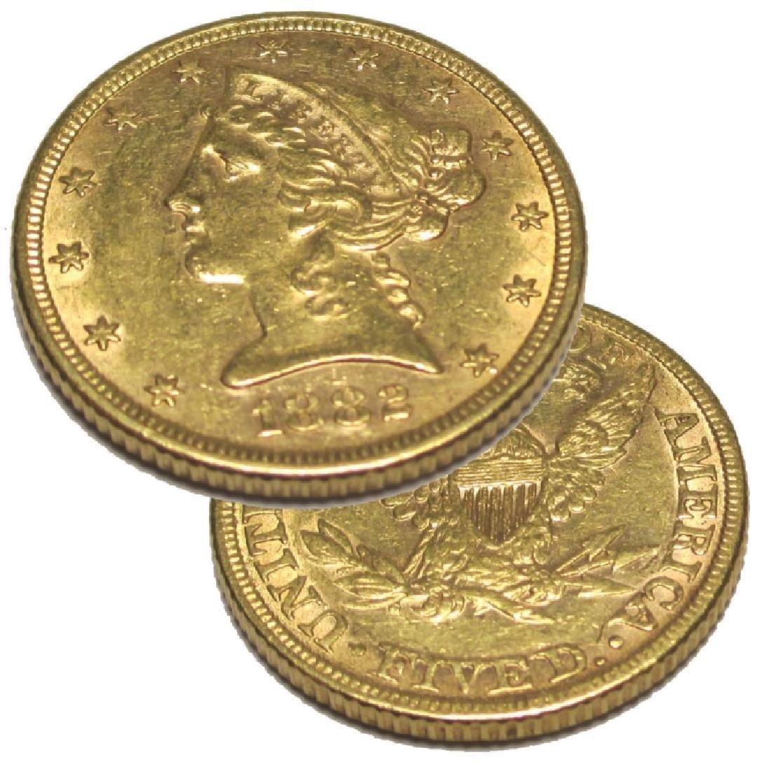 1882 P $ 5 Gold Liberty