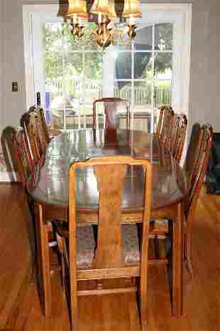 8091: ETHAN ALLEN FORMAL SOLID DINING ROOM TABLE W 8 CH