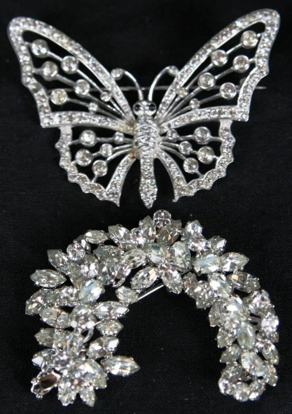 2305: LOT 2 RHINESTONE BROOCHES 1971 DIOR AND BUTTERFLY