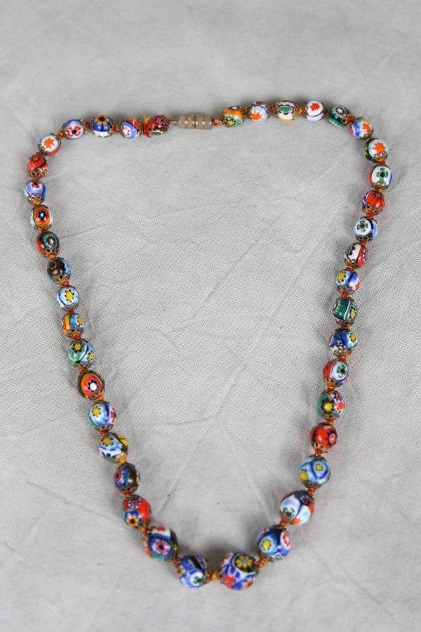 2322: VINTAGE ITALIAN MILLEFIORI GLASS BEAD NECKLACE