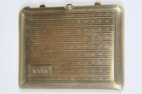 2449: ART DECO TIFFANY & CO 14k GOLD COMPACT WITH SAPPH