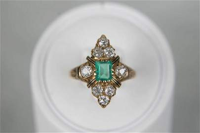 5500: ANTIQUE VICTORIAN 18K EMERALD DIAMOND & ENAMEL RI