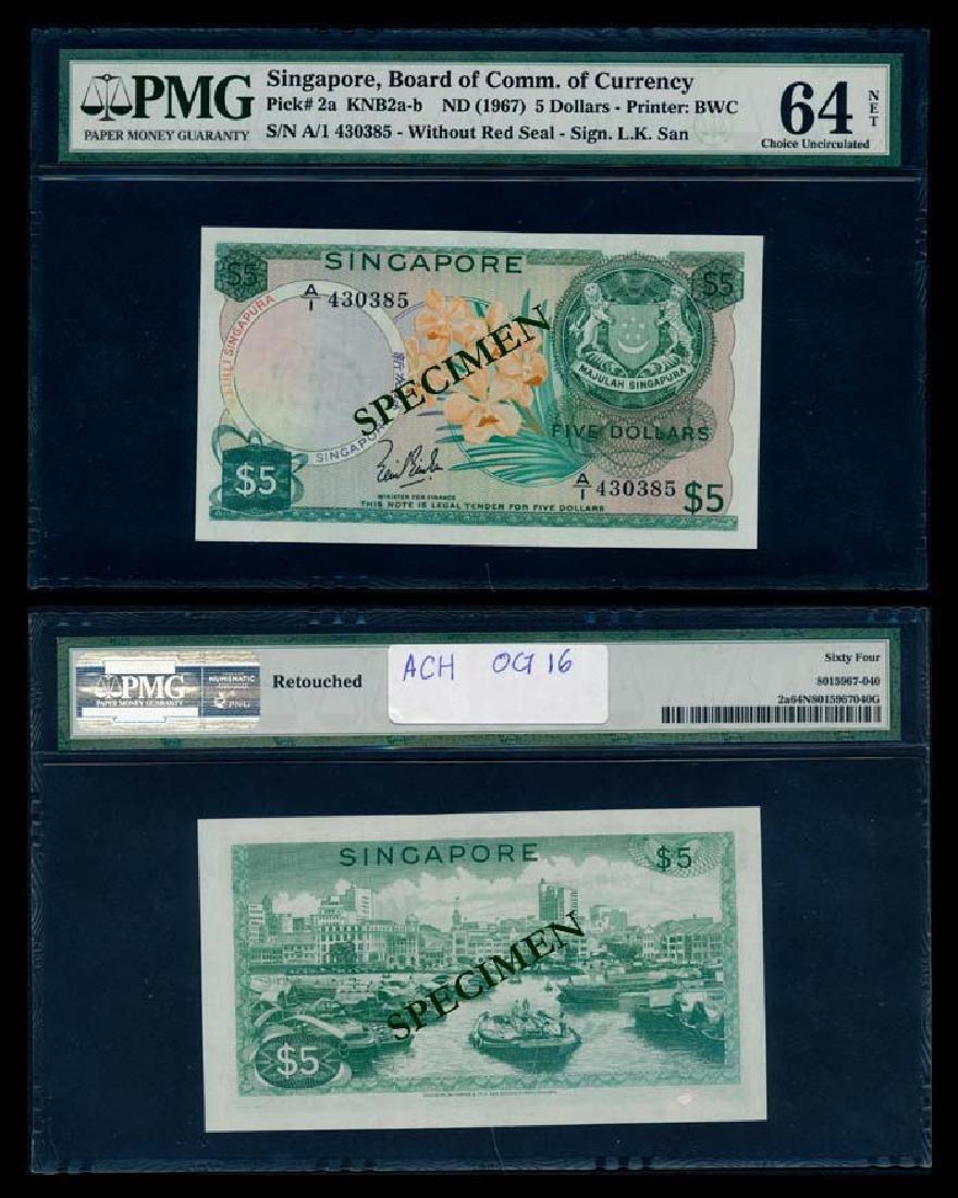 Singapore $5 1967 LKS 1st prefix PMG