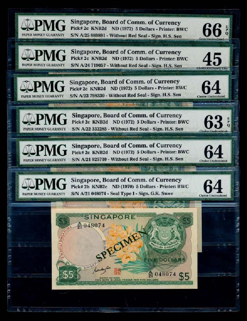 Singapore 6x$5 1970 yellow paper PMG