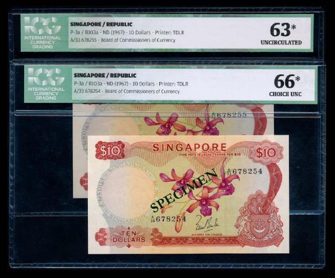 Singapore 2x$10 1967 LKS ICG