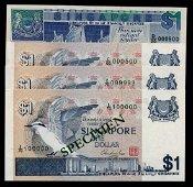 Singapore 3x$1 1976 bird $1 1987 ship HTT
