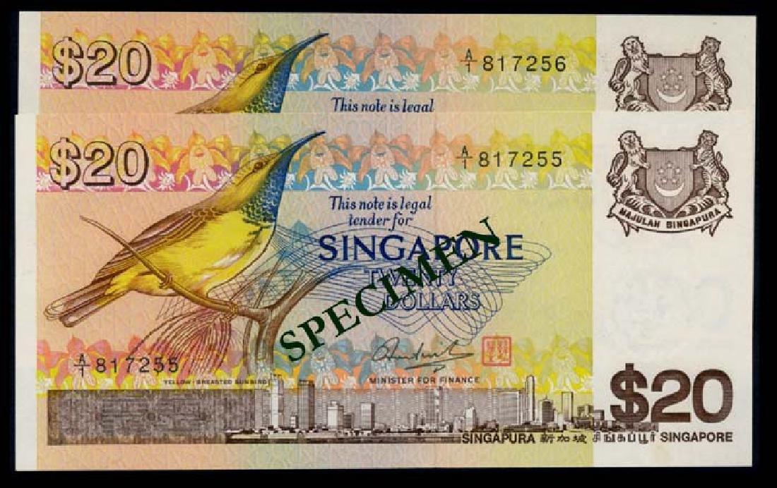 Singapore 2x$20 1979 bird 1st prefix AU-UNC