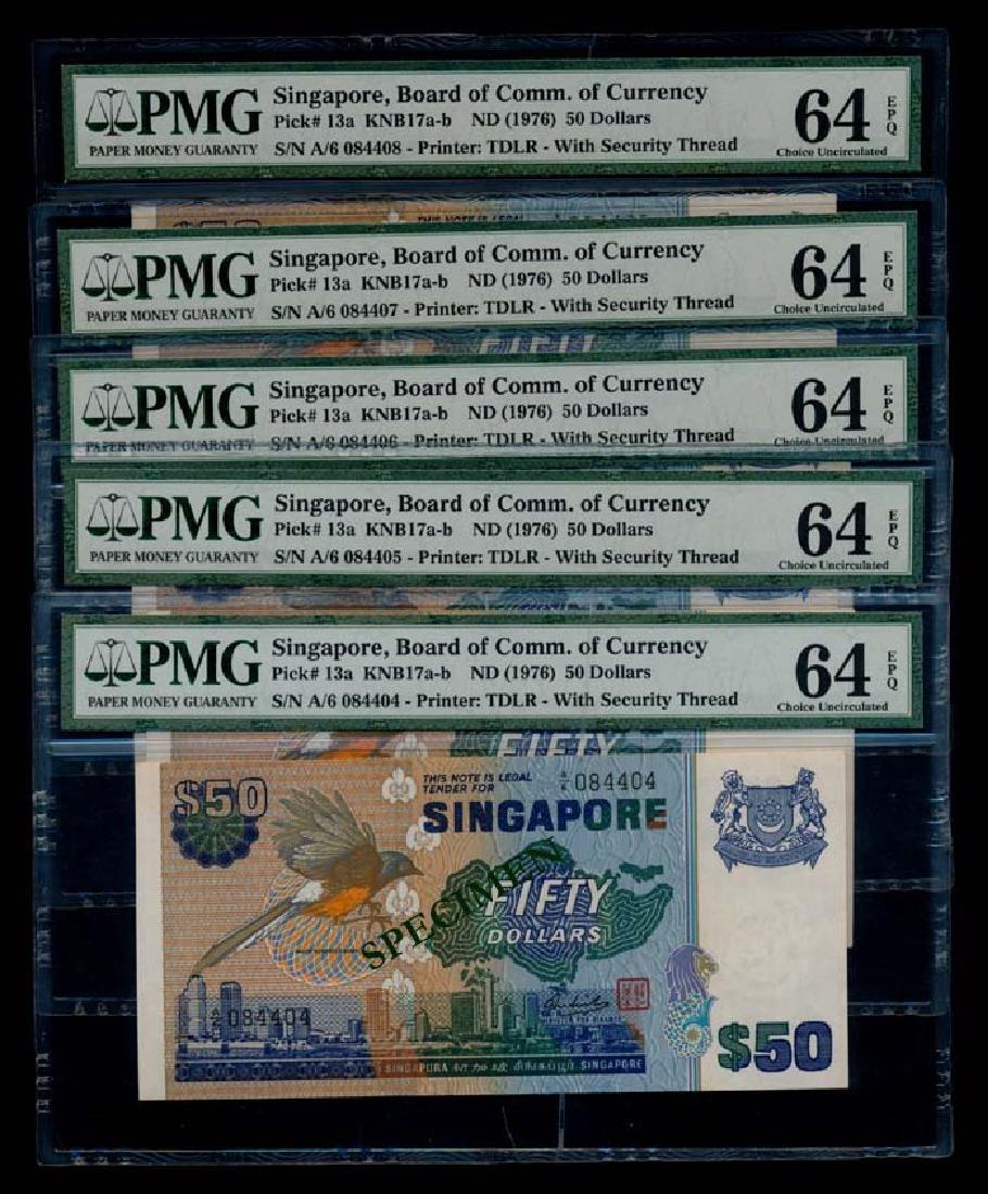 Singapore 5x$50 1976 bird PMG