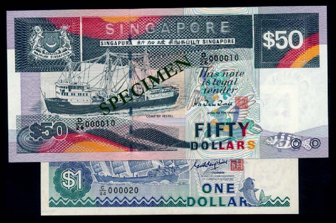 Singapore $1 1987 ship GKS $50 1997 ship HTT
