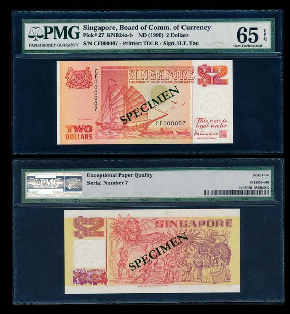 Singapore $2 1990 ship orange PMG