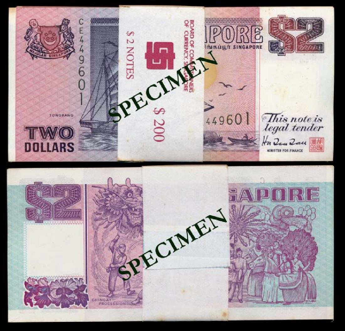 Singapore 100x$2 1992 ship purple