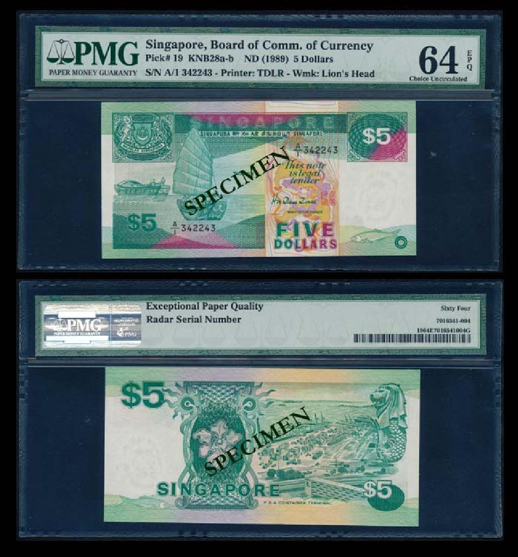 Singapore $5 1989 ship 1st prefix PMG